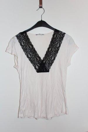 H&M Bluse Top Shirt creme weiß schwarz Damen Gr. M / 38 Spitze
