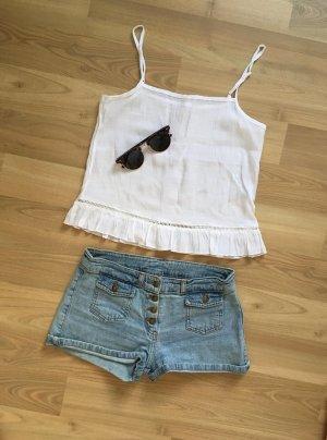 H&M Bluse Top Shirt Hemd Camisole Cami Beige Nude Weiß Volants XS 34 NEU