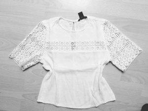 H&M - Bluse Top Spitze Häkel weiß Gr. 36