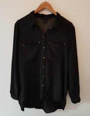 H&M Bluse Transparent Schwarz Gr. 44