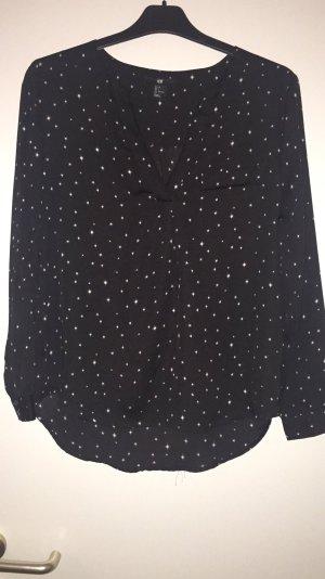 H&M Bluse Tunika Sterne Stars Gr. 34 Schwarz