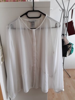 H&M Transparent Blouse white polyester
