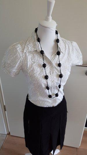 H&M Blouse-chemisier blanc-noir coton