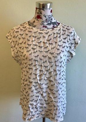 H&M Bluse: Zebramuster, schwarz/weiß, kurzärmlig, Preisschild noch vorhanden