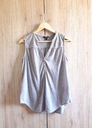 H&M Blusen Top V-Ausschnitt grau meliert Gr. S
