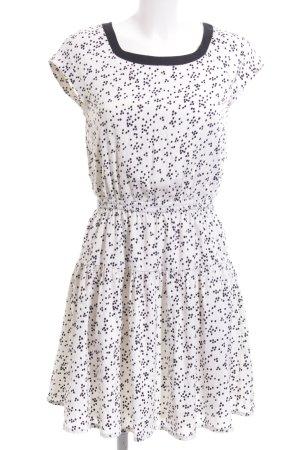 H&M Blusenkleid weiß-schwarz Punktemuster Casual-Look