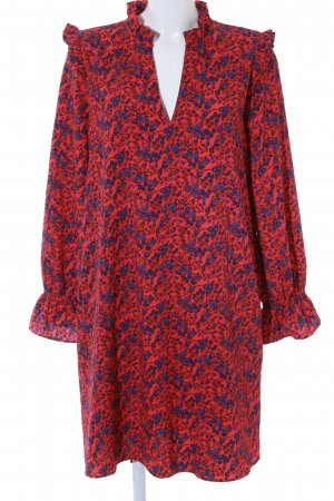 H&M Blusenkleid rot-dunkelblau Blumenmuster Street-Fashion-Look