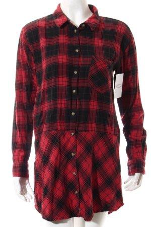 H&M Blusenkleid rot-schwarz Karomuster Casual-Look