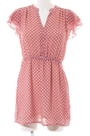 H&M Blusenkleid rot-wollweiß Allover-Druck Casual-Look
