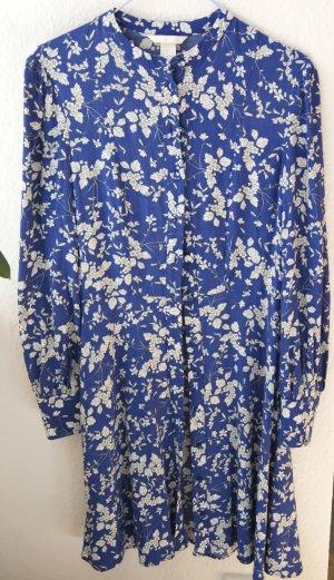 H&M Blusenkleid Viskose Blau Blumen XS 34 NP 50€