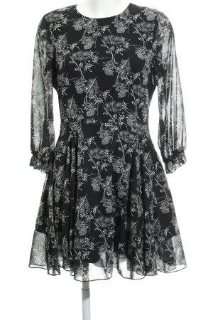 H&M Blusenkleid weiß-schwarz florales Muster Casual-Look