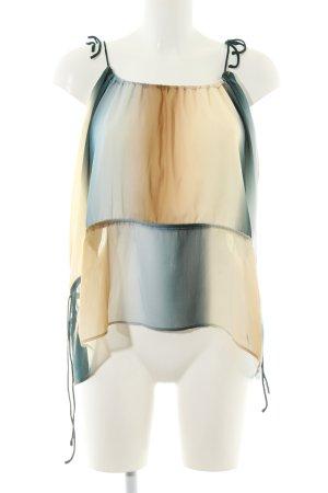 H&M Blusentop creme-blau Farbverlauf Elegant