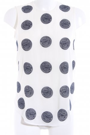 H&M Blusentop weiß-dunkelblau Punktemuster Casual-Look