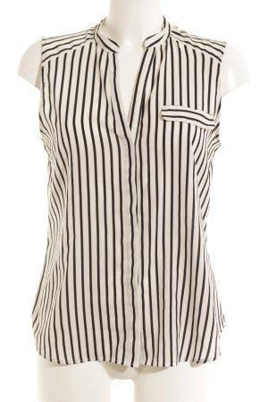 H&M Blusentop weiß-schwarz Streifenmuster Casual-Look