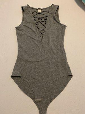 H&M Shirtbody grijs-lichtgrijs