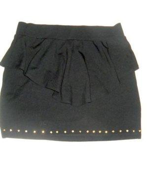 H&M Bodycon Rock schwarz Nieten gold breiter Volant Tulpenform 38 40 42 M L