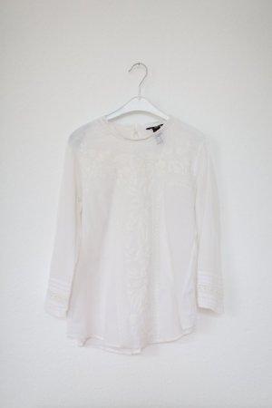 H&M Boho Bluse Shirt Baumwolle Nude Weiß Hippie Gr. S/M Vintage Stil