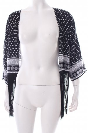 H&M Bolero schwarz-weiß abstraktes Muster Boho-Look