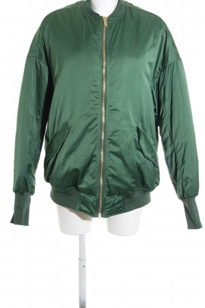 H&M Bomber Jacket dark green wet-look