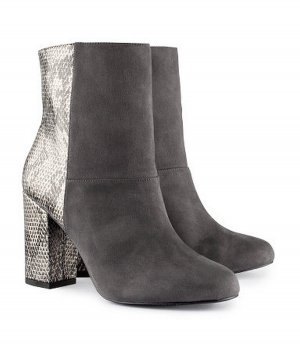 H&M Boots Stiefel Stiefeletten Booties grau anthrazit Schlange Snake 38 39 Neu