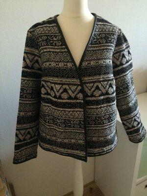 H&M Boucle Jacke Blazer 42 XL NEU mit Etikett weiß schwarz tweed