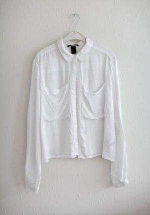 H&M Boxy Shirt Bluse Gr. 38 weiß Hemd Viskose wenig getragen