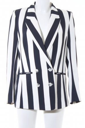 H&M Boyfriend Blazer dark blue-natural white striped pattern casual look