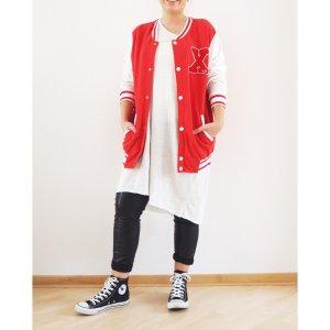 H&M boyfriend College Jacke rot weiß L XL 40 42 Sweat Jacke Blouson