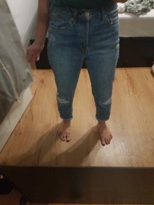 H&M Boyfriend Trousers pale blue-azure