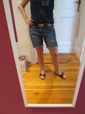 H&M Boyfriend Jeans Bermuda used Look blau