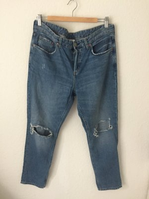 H&M Boyfriend Jeans Destroyed Blau