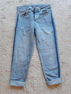 H&M Boyfriend jeans staalblauw Katoen
