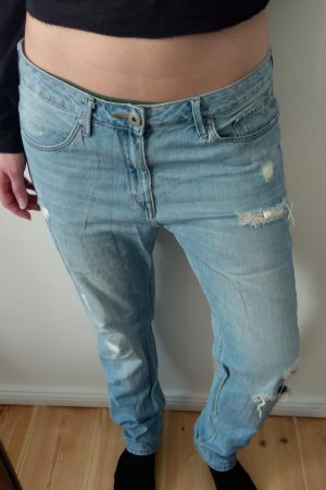 H&M Boyfriend Jeans hellblau ripped destroyed Look L / 42