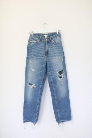 H&M Boyfriend Jeans Oversized ripped Blue Denim Gr. 36 Vintage Look