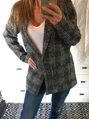 H&M Boyfriend oversized Blazer Jacke Mantel schwarz weiß kariert Karo 38 glencheck NP 40