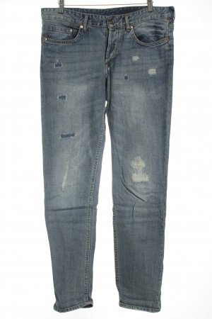 H&M Boyfriendjeans blau-wollweiß Used-Optik