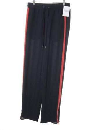 H&M Bundfaltenhose dunkelblau-rot Casual-Look