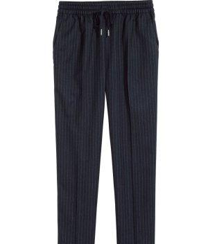 H&M Bundfaltenhose Nadelstreifen dunkelblau sportlich chic
