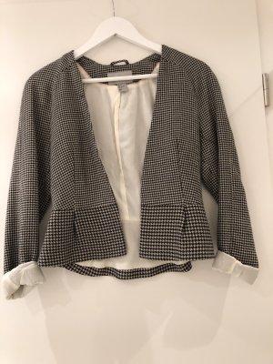 H&M Blazer corto nero-crema Cotone