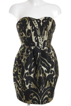 H&M Bustierkleid schwarz-goldfarben Allover-Druck Elegant