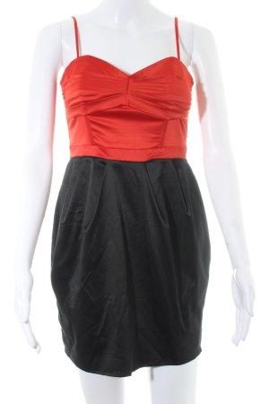 H&M Vestido bustier negro-rojo ladrillo elegante
