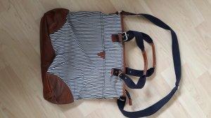 H&M Canvas Tasche Marine-Look Streifen weiß blau cognac Schultergurt Henkel