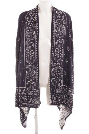 H&M Cardigan dunkelblau-weiß grafisches Muster Casual-Look