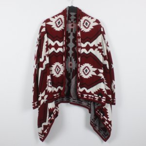 H&M Cardigan Gr. XS rot weiß gemustert (18/12/118)