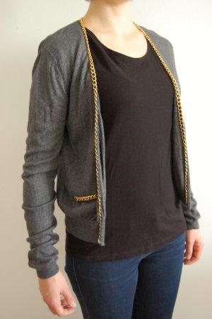 H&M Cardigan grau mit Angora & Wolle und Goldkette M