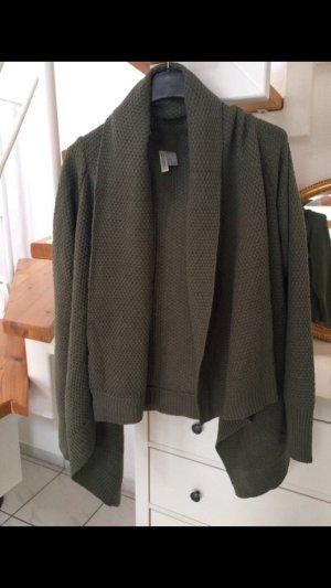 H&M Cardigan en crochet kaki-vert foncé