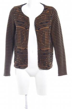 H&M Cardigan schwarz-camel abstraktes Muster Casual-Look