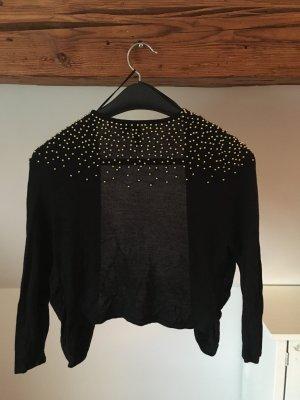 H&M cardigan schwarz goldene Perlen Pailletten 36 38 S Blazer Strickjacke Jacke