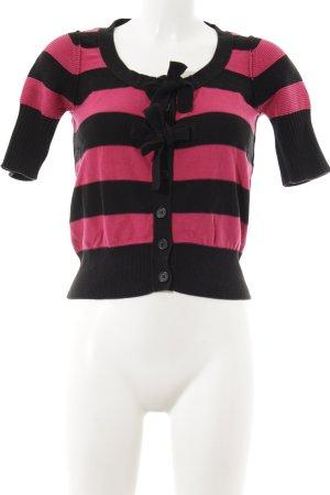 H&M Cardigan schwarz-magenta Streifenmuster Paris-Look