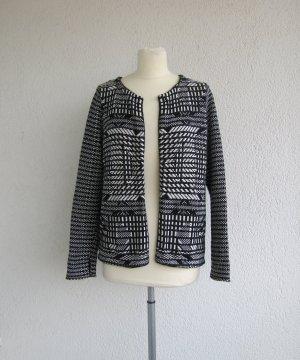 H&M Blazer en maille tricotée blanc-noir coton